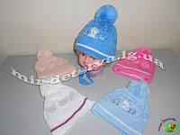 Шапки демисезонные для новорожденных на х/б подкладке оптом р.40-42 см цвета только на девочку