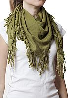 Однотонный оливковый шерстяной платок, фото 1