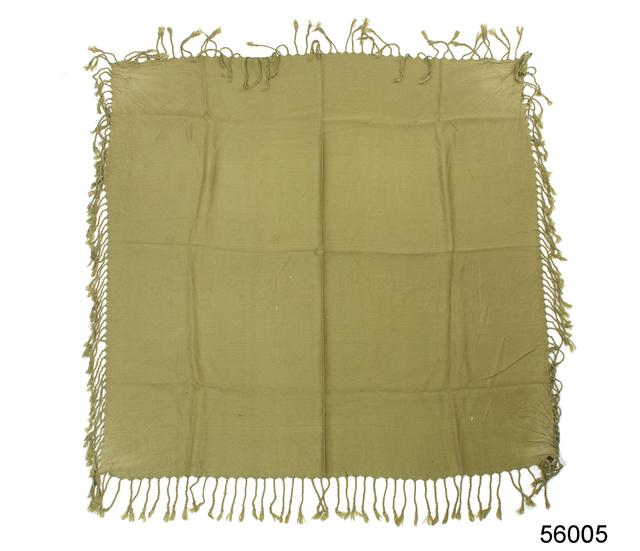 Однотонный оливковый шерстяной платок 4