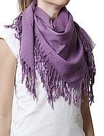Однотонный сиреневый шерстяной платок