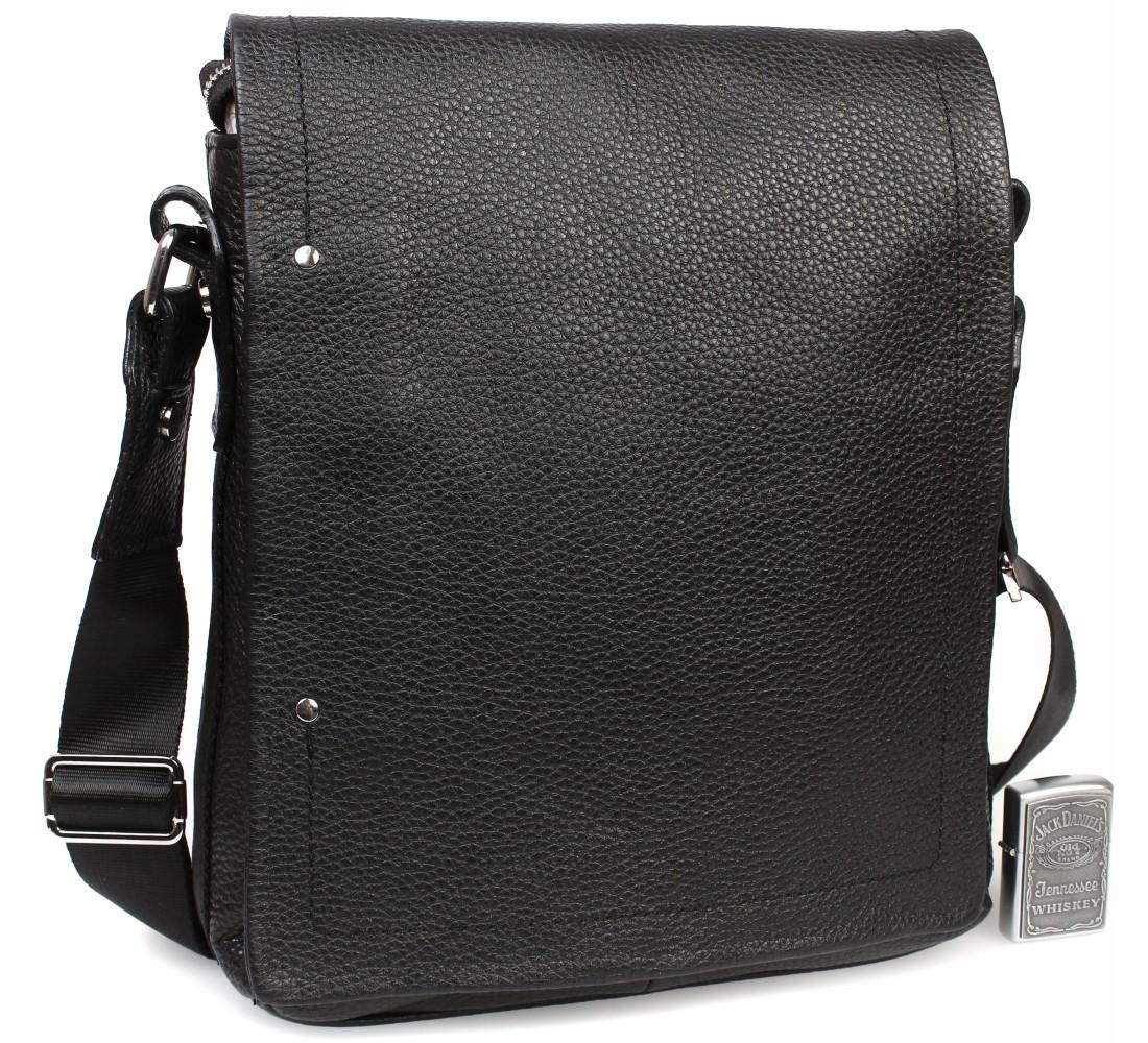 Мужская кожаная сумка через плечо с клапаном Alvi AV-5555