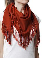 Однотонный терракотовый шерстяной платок