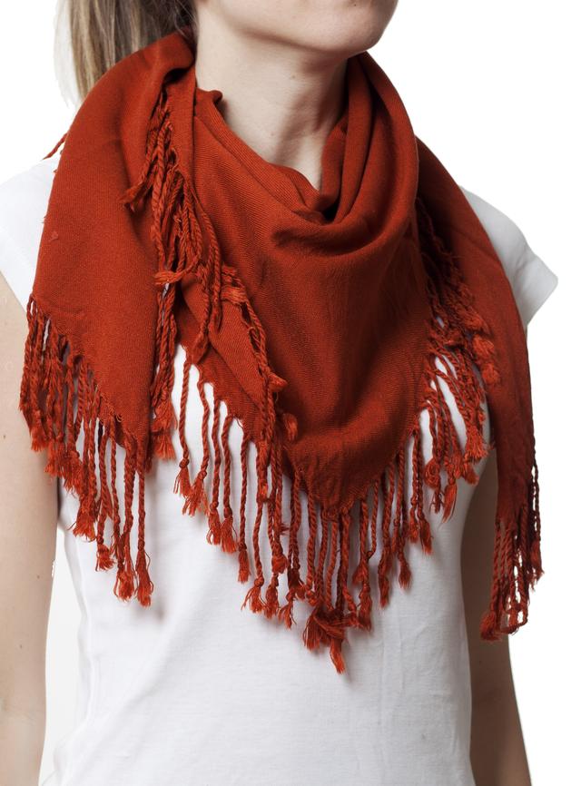 Однотонный терракотовый шерстяной платок 1