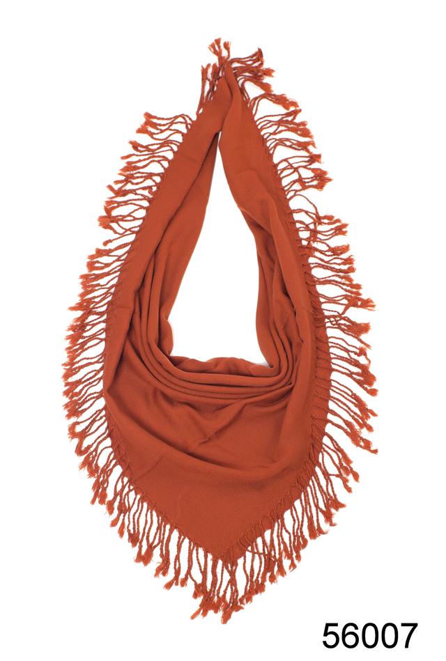 Однотонный терракотовый шерстяной платок 2