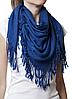 Однотонный темно-синий шерстяной платок