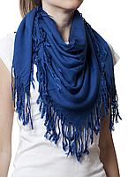Однотонный темно-синий шерстяной платок, фото 1