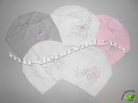 Детская демисезонная шапка для девочки, 100% хлопок,  р.50-52 см. (5 шт в упаковке)