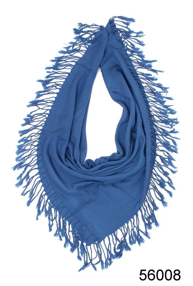 Однотонный темно-синий шерстяной платок 2