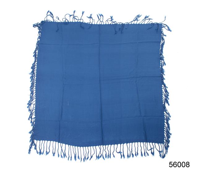 Однотонный темно-синий шерстяной платок 4