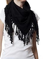 Однотонный черный шерстяной платок, фото 1
