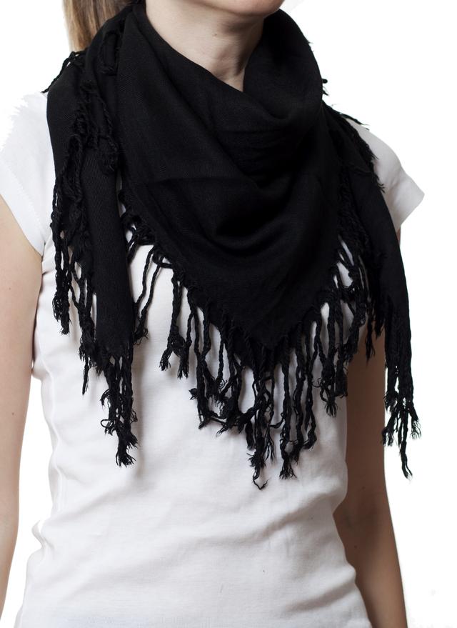Однотонный черный шерстяной платок 1