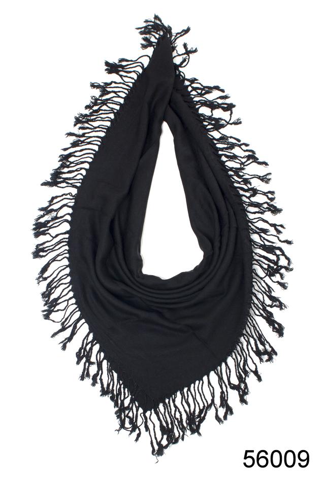 Однотонный черный шерстяной платок 2