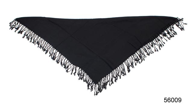 Однотонный черный шерстяной платок 3