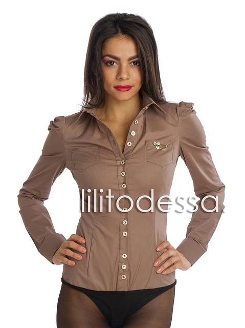 Рубашка-боди с острыми плечиками кофе с молоком
