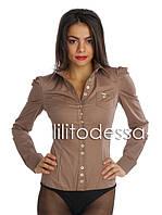 Рубашка-боди с острыми плечиками кофе с молоком, фото 1