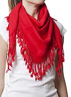 Однотонный красный шерстяной платок
