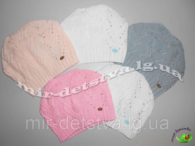 """Детская демисезонная шапка для девочки """"Колосок"""",  р.50-52 см. ост. 2 шт белый, персик"""