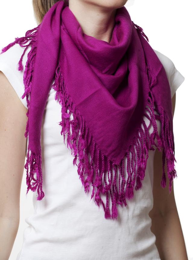 Однотонный фиолетовый шерстяной платок 1