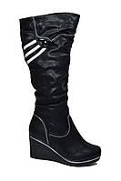 Высокие зимние сапоги женские на танкетке эко кожа черные размеры 36,37, 39
