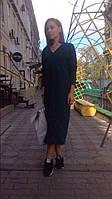 Женское модное платье ниже колен из ангоры. Цвет бутылочный Размер универсал AK1233