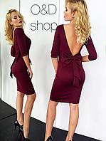Платье с открытой спиной и бантом миди дайвинг 3 цвета SMc720
