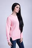 Джемпер вязаный удлиненный нежно-розового цвета, фото 6
