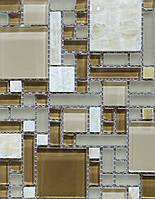 Мозаика из оникса со стеклом для кухни Vivacer RS75 кофейная
