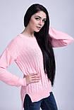 Джемпер вязаный удлиненный нежно-розового цвета, фото 7