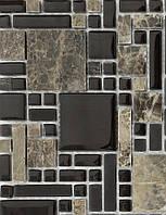 Мозаика для кухонного фартука мраморная Vivacer RS76 коричневая