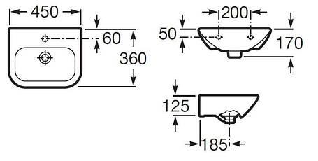 Умывальник 45*36 см ROCA NEXO (327643000), фото 2