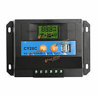 20А 12v/24v ЖК солнечной контроллер заряда регулятора панели батареи с 2 портами USB