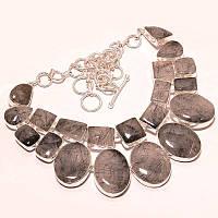 Колье из натуральных камней - Черный Рутиловый Кварц (Стрелы Амура, Волосатик)