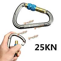 Форма карабин винтовой замок обрушения породы восхождение ключ замок карабин пряжкаD25kN 5600lbs алюминия D в