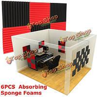 6шт 30x30x2.5см акустическая звукоизоляция звукопоглощающих пены шум плитки черного и красного