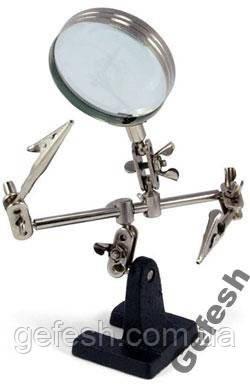 Держатель плат с лупой линзой 6 см третья рука для пайки