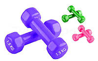 Гантели для фитнеса с виниловым покрытием Радуга (2шт. по 1,5 кг.)