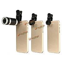 4в1  рыбий глаз широкий угол микро 8-кратным зумом оптический телескоп объектив камеры для смартфонов планшетных ПК