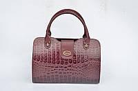 Стильная женская сумка крокодиловая кожа PU бордового цвета