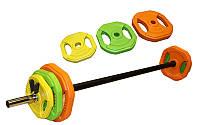 Штанга для фитнеса (фитнес памп) FI-4247 20кг (гриф l-1,3м, d-25мм, обрезин. блины 2x(1,25+2,5+5кг))