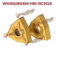 Чпу твердосплавные пластины поворотный держатель инструмента для вставки стали WNMG080404-HM NC3020 2pcs
