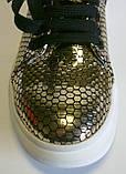 Мокасины  кожаные женские золотые, фото 3