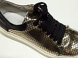 Мокасины  кожаные женские золотые, фото 6