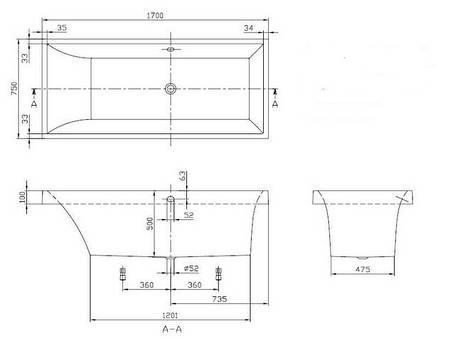 Ванна 170*75см в комплекте с ножками VILLEROY & BOCH SQUARO (BQ170SQR2V-01), фото 2