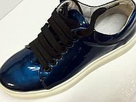 Мокасины  кожаные женские синие, фото 1