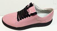Мокасины  кожаные женские розовые лак