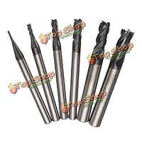 6шт азота с покрытием 4-х флейт концевой фрезы фрезы цилиндрическим хвостовиком 1-6мм конец комплект резчик мельница с ЧПУ инструмент