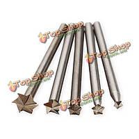 5шт 3мм хвостовик белый стальной звезда конечные фрезы из быстрорежущей стали по дереву набор ножей