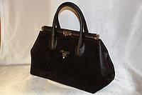 Женская натуральная замшевая сумка Prada