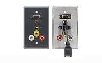 Kramer WAV-6UBA Настенная панель-переходник с проходными VGA, USB, композитного видео/аудио