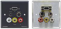 Kramer WAV-6YC Настенная панель-переходник с проходнымиVGA (розетки HD-15), s-Video, cтерео аудио